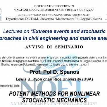 Prof. Pol Spanos: POTENT METHODS FOR NONLINEAR STOCHASTIC MECHANICS